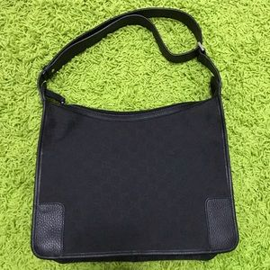 Authentic Black Gucci Guccissima Shoulder Bag